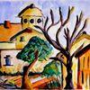 Baum, Aquarellmalerei, Häuser, Himmel