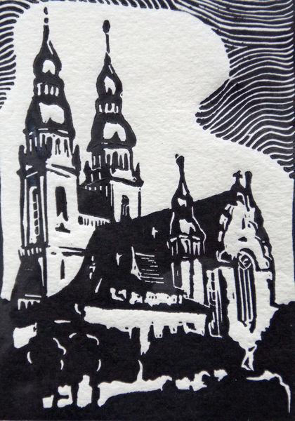 Speyer, Kirche, Linolschnitt, Hochdruck, Druckgrafik