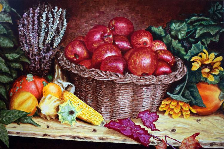 Stillleben, Herbst, Apfel, Gemüse, Malerei