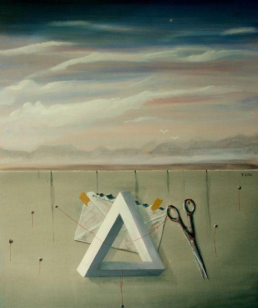 Schere, Faden, Brief, Landschaft, Dreieck, Vogel