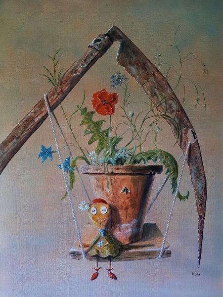 Gras, Gefühl, Schaukel, Blumentopf, Stoffpuppe, Vergänglichkeit