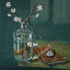 Glas vase, Angelhaken, Buch, Wahrscheinlich