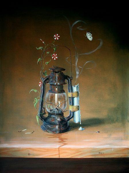 Ackerwinde, Romantik, Holztisch, Kerzen, Streichhölzer, Petroliumlampe