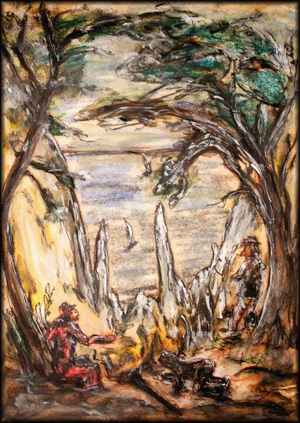 Rügen, Blei, Machbarkeit, Sepia, Ölmalerei, Pastellkreide auf karton