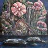 Ölmalerei, Karton, Mischtechnik, Traumland