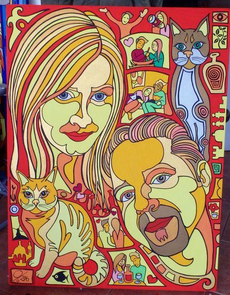 Paar, Katze, Malta, Hochzeit, Malerei