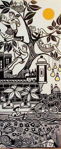 Valletta, Birgu, Malta, Hafen, Malerei