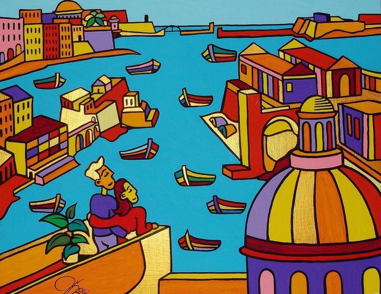 Birgu, Kalkara, Hafen, Senglea, Malerei