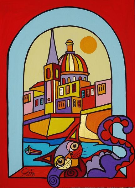 Malta, Valletta, Katze, Malerei, Fenster