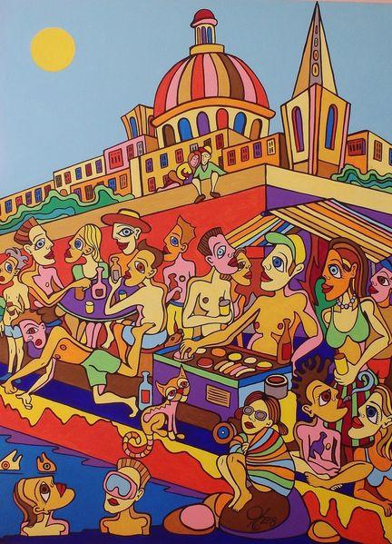 Grillen, Bbq, Valletta, Partei, Malerei