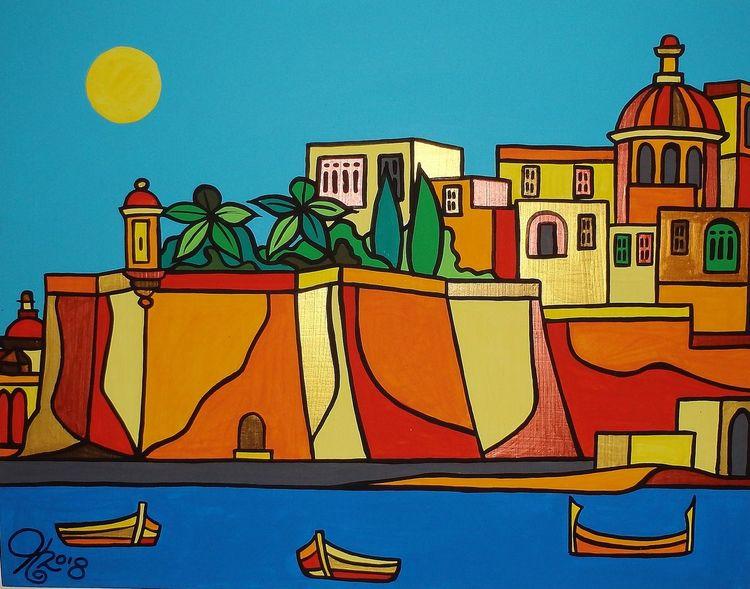 Senglea, Malta, Meer, Boot, Malerei