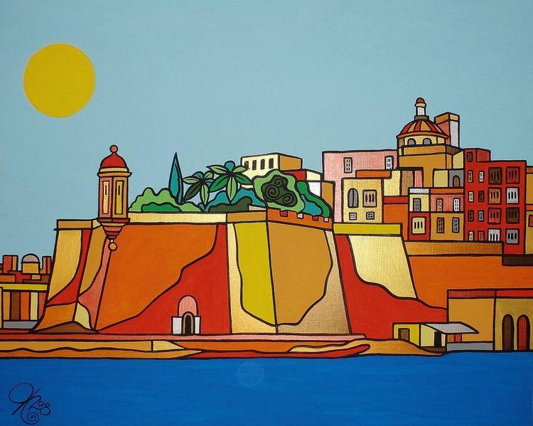 Senglea, Hafen, Malta, Malerei