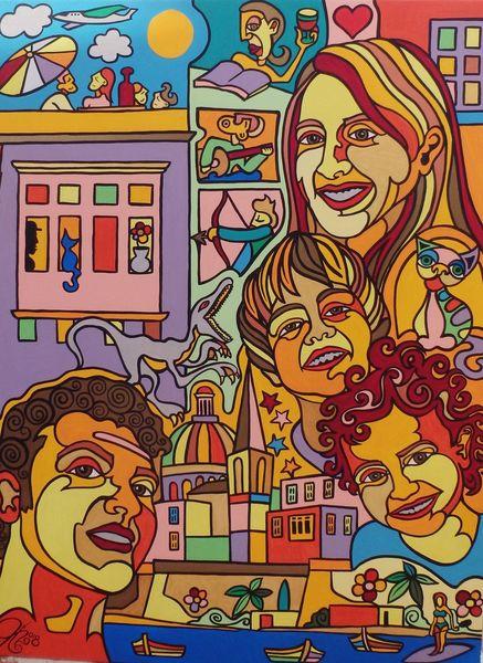 Italien, Buch, Familie, Malerei,