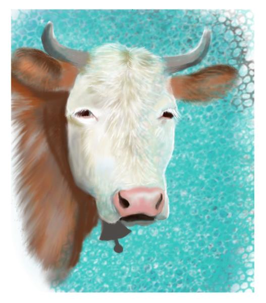 Weiß, Kuh, Tiere, Digital, Braun, Digitale kunst