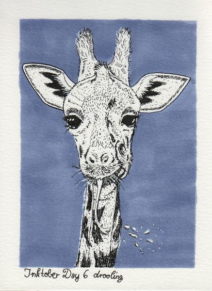 Giraffe, Sabbernd, Inktober, Illustrationen, Tag