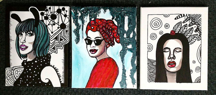 Rot schwarz, Frau, Weiß, Edding, Illustrationen, Trio