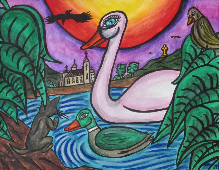 Fantasie, Haus, Aquarellmalerei, Schwan, Adler, Sonnenuntergang