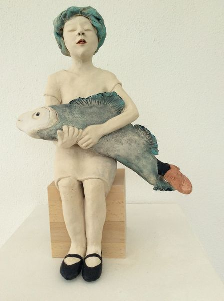 Frau, Dicker fisch, Fischfang, Mädchen, Tonplastik, Schuhe