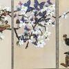 Kirschblüten, Schnipsel, Wurm, Mischtechnik