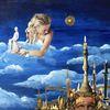 Frau, Wolken, Mann, Leuchter