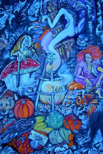 Feuer, Tiere, Bäume geister, Kobold, Obst gemüse, Hexe