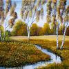 Bächlein, Gras, Birken, Herbst