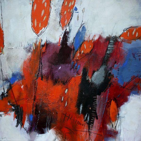 Blau, Orange, Aubergine, Struktur, Kohlezeichnung, Zeichnung