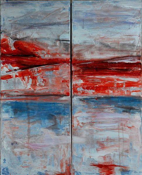 Blau, Rot, Acrylmalerei, Malerei, Abstrakt