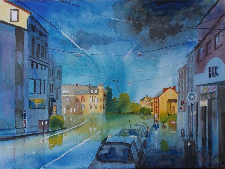 Straßenbahnlinie, Straße, Wolken, Bremen, Gebäude, Stadt