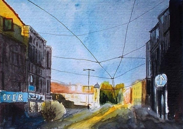 Abendlicht, Straße, Haus, Straßenbahnlinie, Stadt, Oberleitung