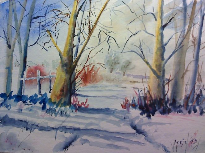 Natur, Winter, Baum, Landschaft, Aquarell, Malerei