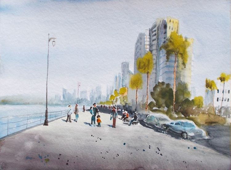 Familie, Küste, Stadt, Promenade, Aquarell, Malerei