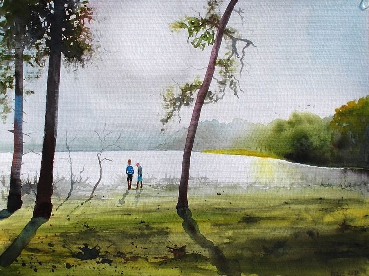 See, Kiefer, Bullensee, Landschaft, Kinder, Natur
