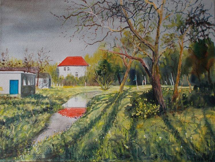 Ortschaft, Dorf, Park, Wiese, Bach, Minigolf