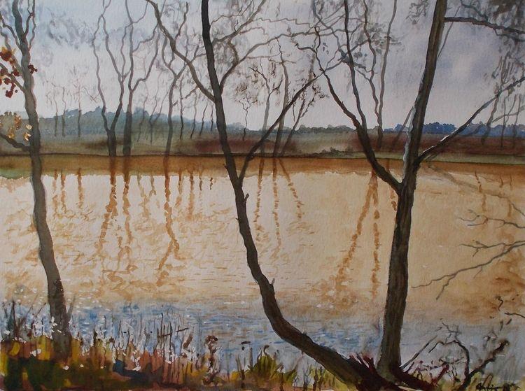 Baum, Moorsee, Landschaft, Natur, See, Aquarell