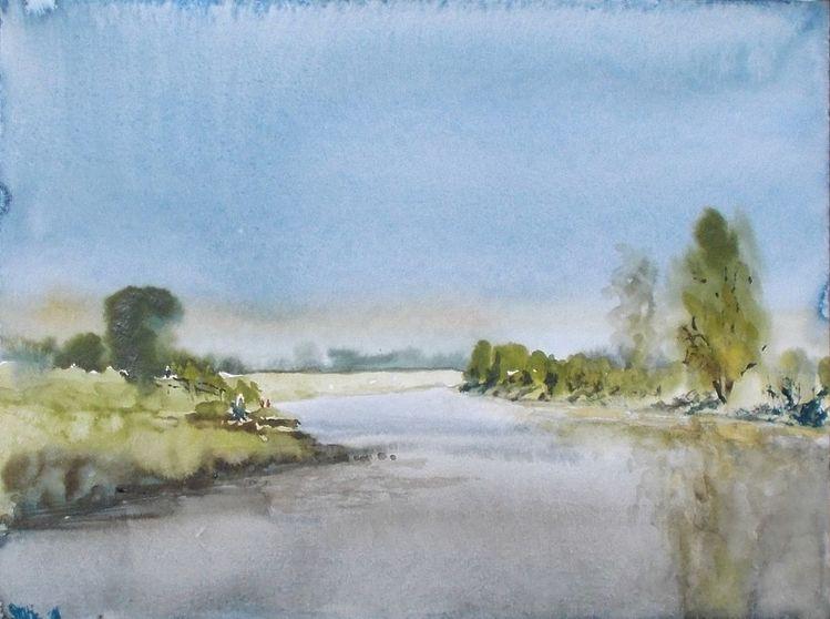 Fluss, Gewässer, Sommer, Natur, Weser, Landschaft