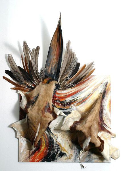 Feder, Assemblagen, Fell, Ausstellung, Afrika, Ilona jentsch