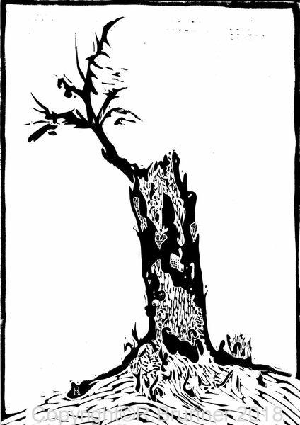 Baum, Äste, Baumstrunck, Druckgrafik