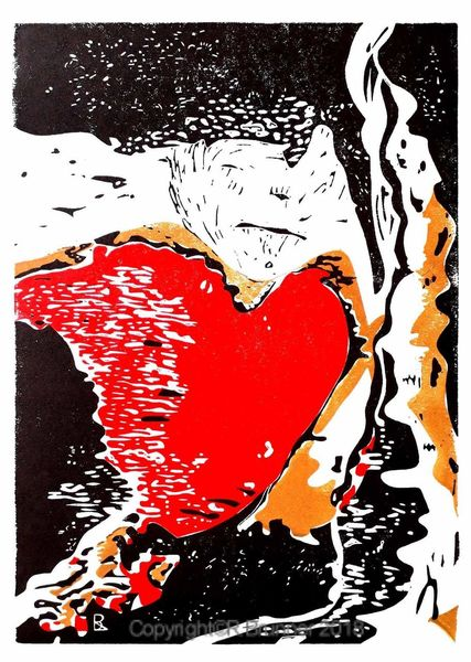 Schmerz, Person, Farben, Herz, Druckgrafik