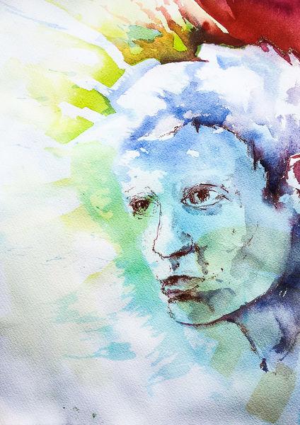 Menschen, Aquarellmalerei, Portrait, Gesicht, Aquarell