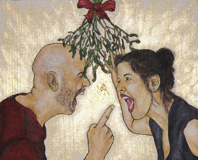 Streit, Gold, Acrylmalerei, Mann und frau, Weihnachten, Malerei