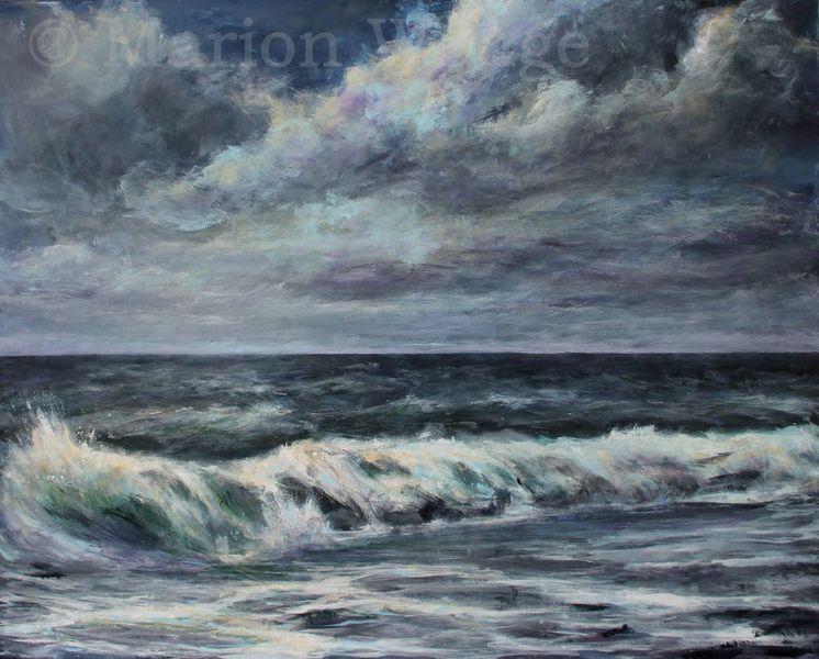Brandung, Wolken, Wasser, Horizont, Welle, Malerei