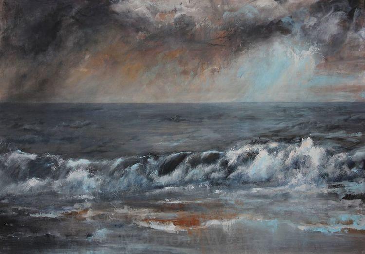 Wasser, Meer, Acrylmalerei, Himmel, Brandung, Landschaft