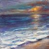 Küste, Sonnenuntergang, Malerei, Sonne