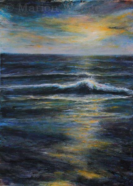 Brandung, Sonne, Welle, Abendrot, See, Wasser