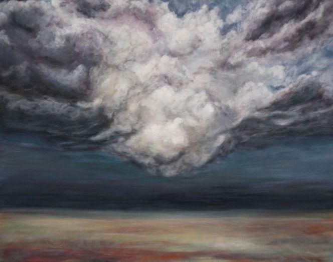 Sturm, Landschaft, Wolken, Himmel, Acrylmalerei, Malerei