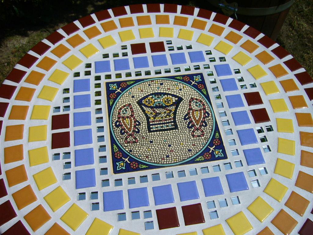 Mosaik Tisch Fischlein Fischlein Lichtblau Keramik Balkon
