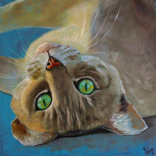 Ölmalerei, Katze, Tiere, Augen, Tiermalerei, Malerei