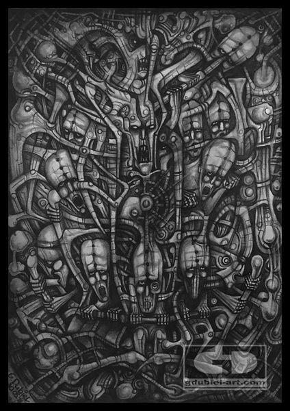 Surreal, Giger, Bleistiftzeichnung, Böse, Zeichnungen