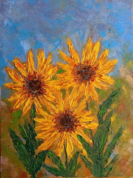 Blüte, Pastos, Abstrakt, Sonnenblumen, Wärme, Expressionismus